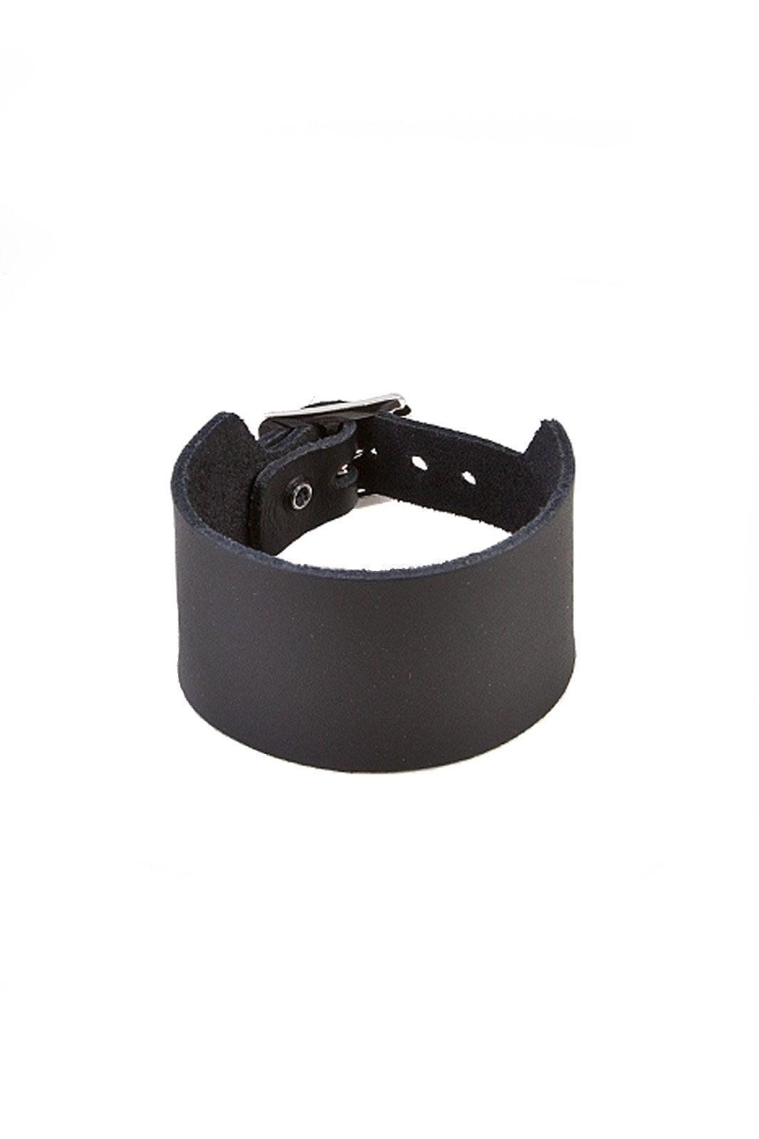 randomizer 2 row plain leather wristband black