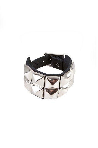randomizer 2 row pyramid wristband black