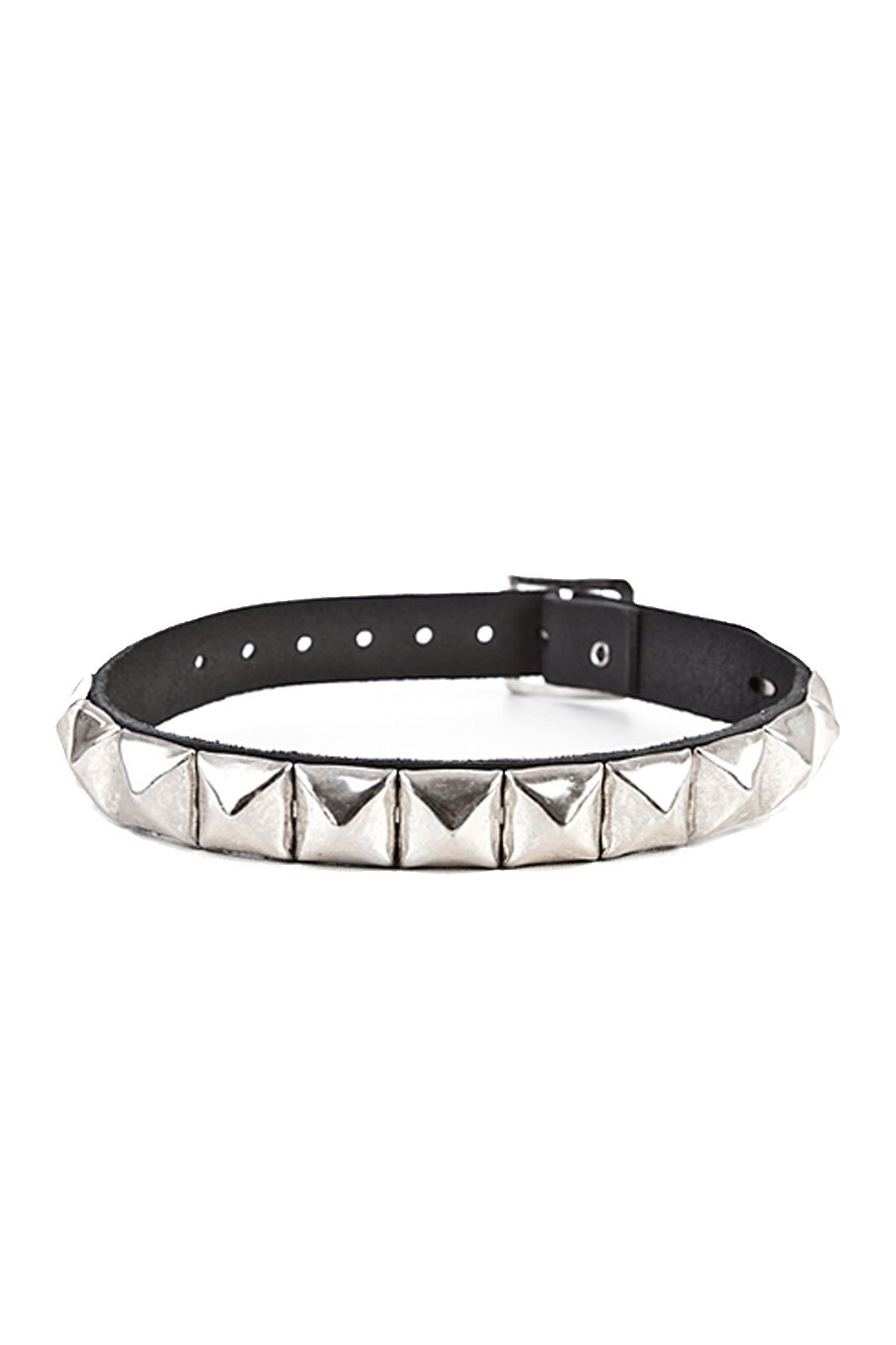 randomizer 1-row pyramid leather choker black