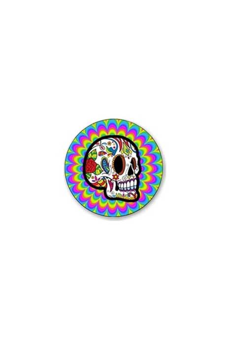Psychedelic Sugar Skull Badge