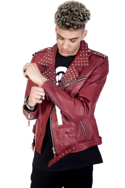 Rock Rivets Leather Jacket Front