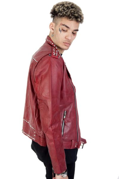 Rock Rivets Leather Jacket Side