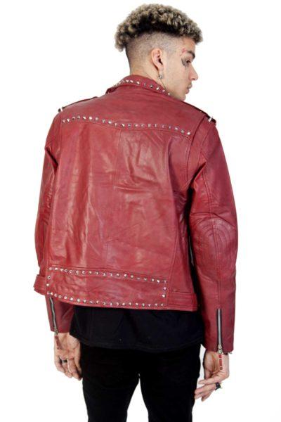 Rock Rivets Leather Jacket Back