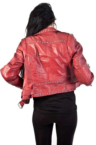 Roll Rivets Leather Jacket Back
