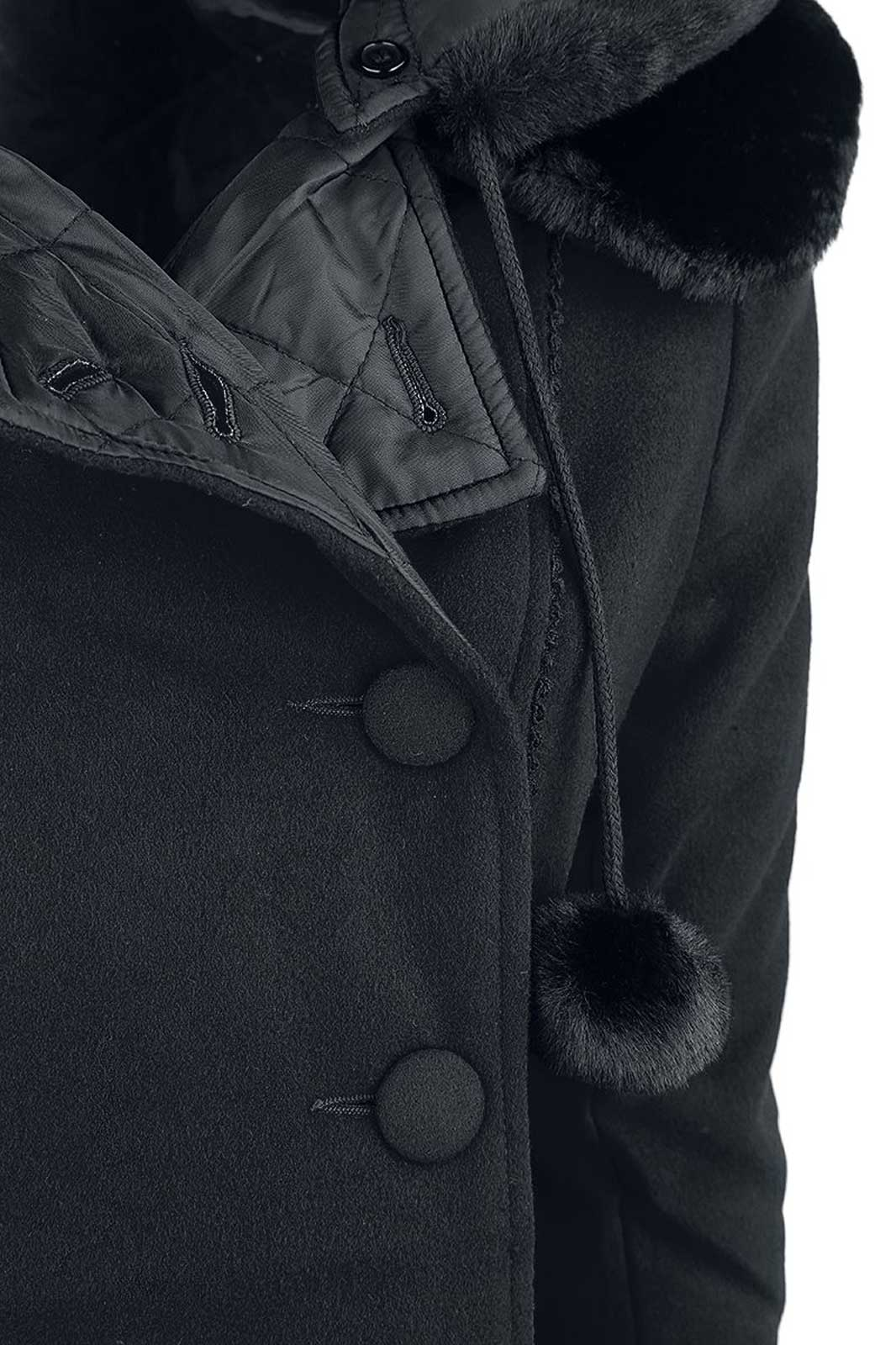 Sarah Jane Coat Black Close Up