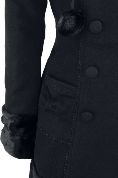 Sarah Jane Coat Black Close Up