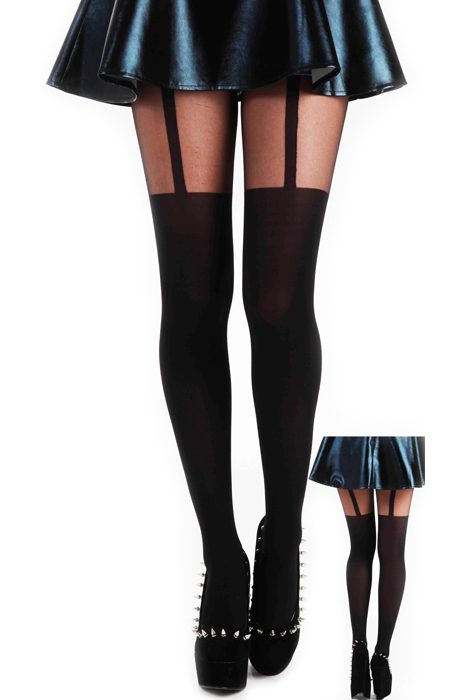 Tights Plain Stripe Suspender