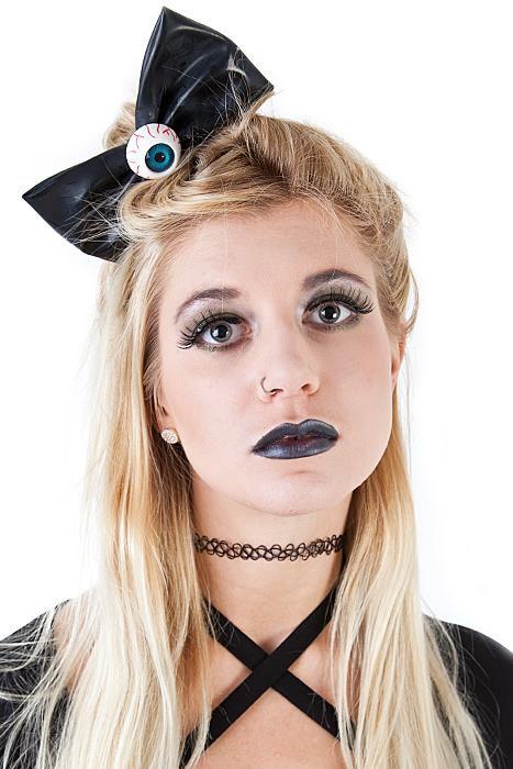 XL Eyeball Hairbow Slide Black