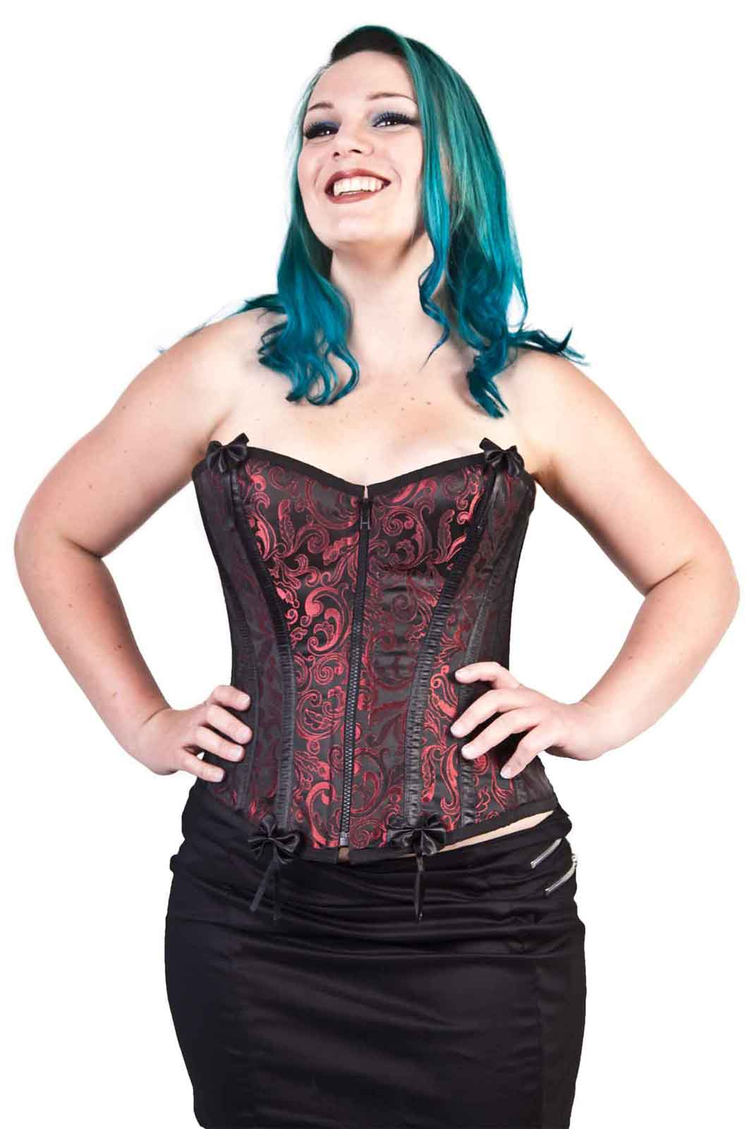 Daisy Overbust In Red Scroll Brocade