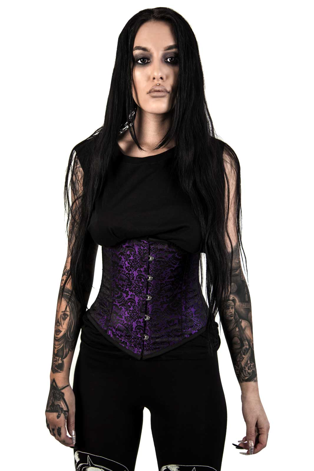 Sexy Waspie Cincher in Purple Brocade