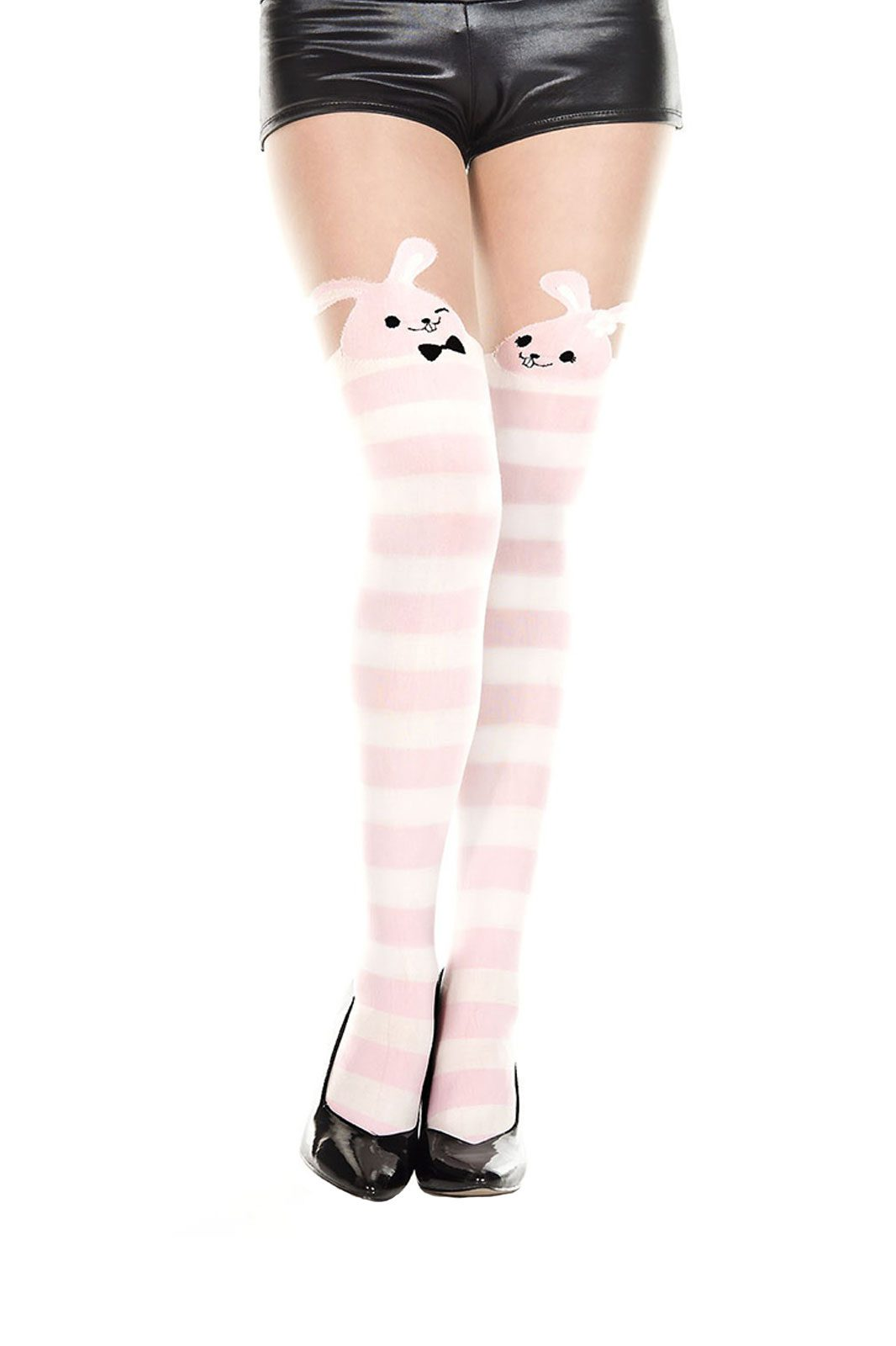 music legs bunny striped pantyhose pink