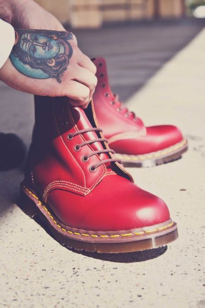 Red Dr Martens Made in England