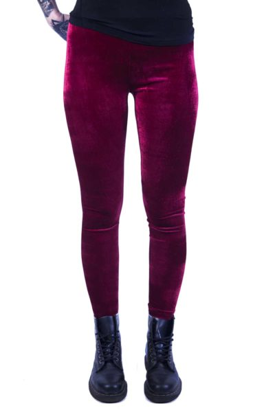 Edit Velvet Leggings Burgundy Red