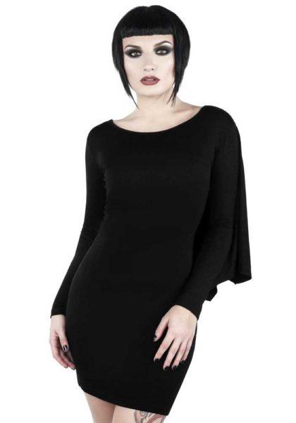 Gotisk svart klänning med vingar