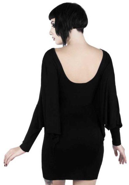 Draperad svart klänning Killstar