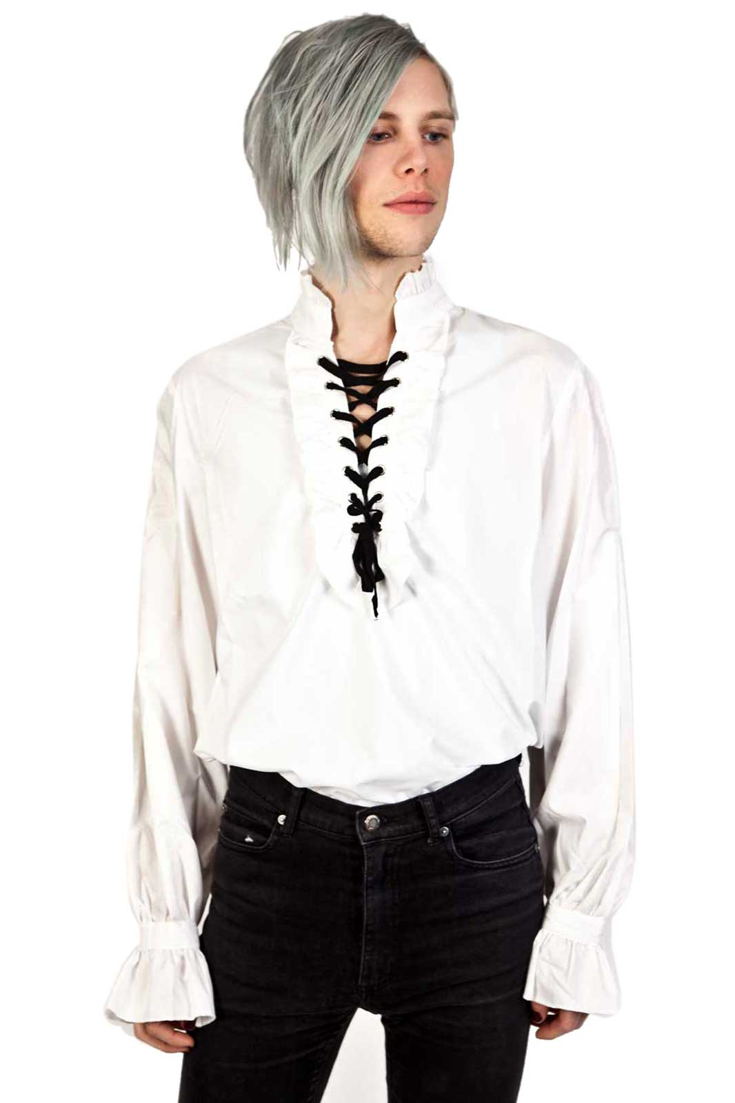 Frill Shirt with Lacing White