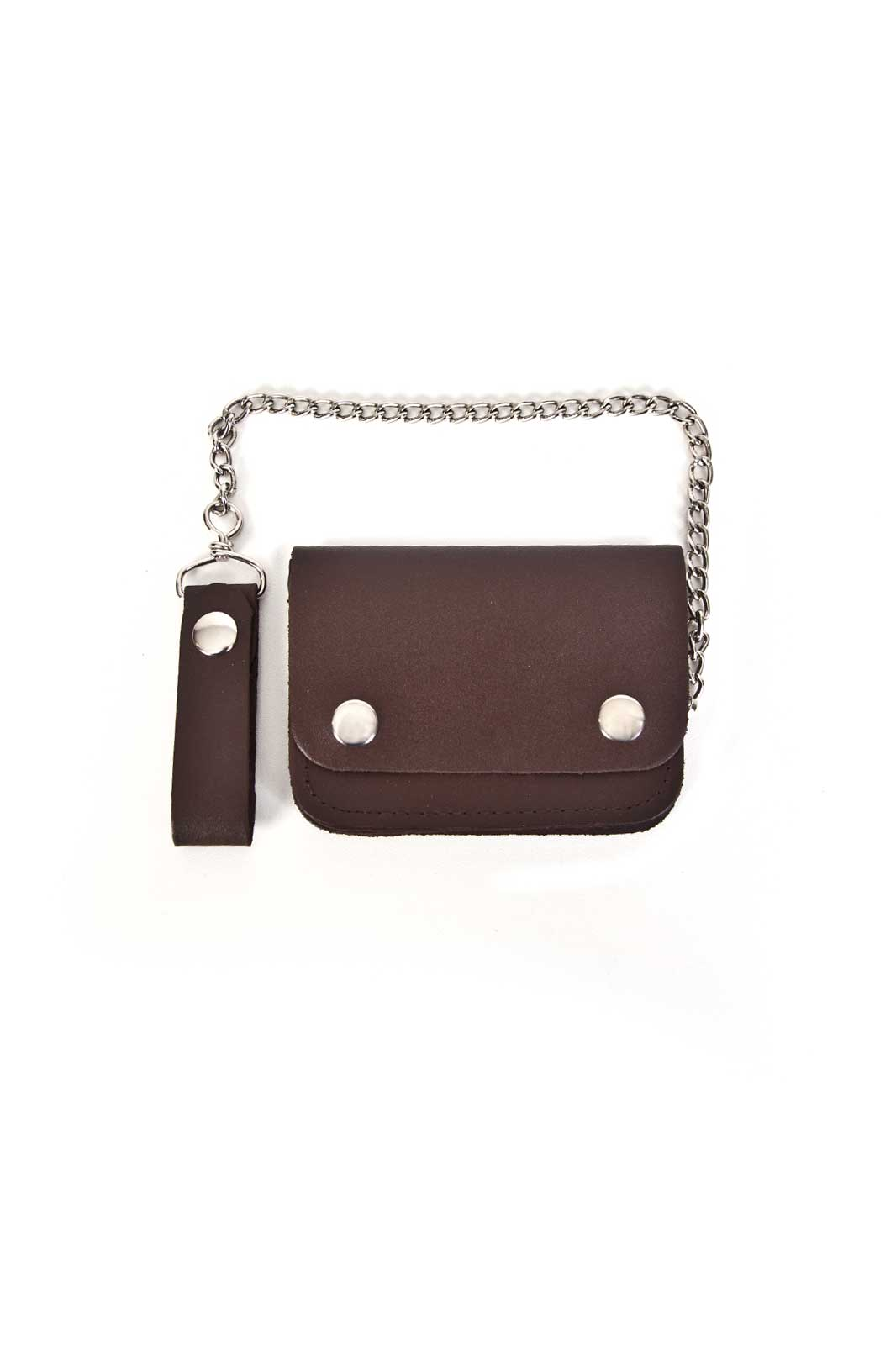 Leather Biker Wallet Small Bi-Fold Brown