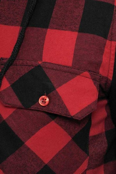 Hooded Checkered Flannel Sweat Pattern - Urban Classics