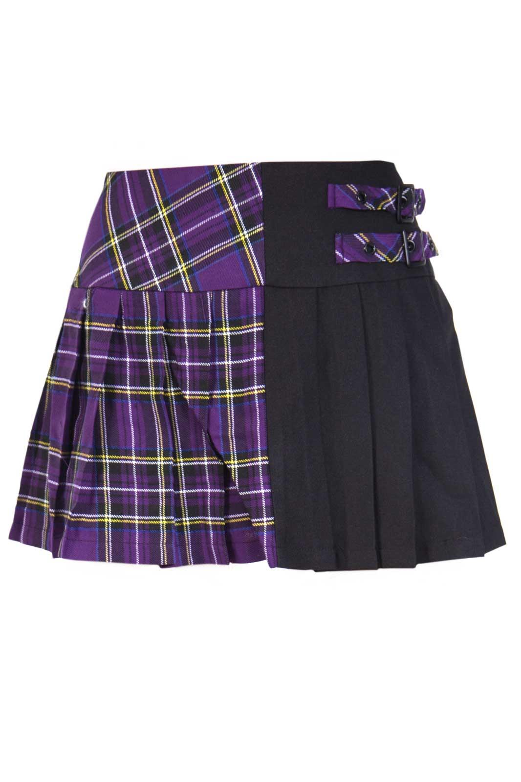 Köp Banned Tartan Split Mini Skirt Purple (299 kr) hos Shock