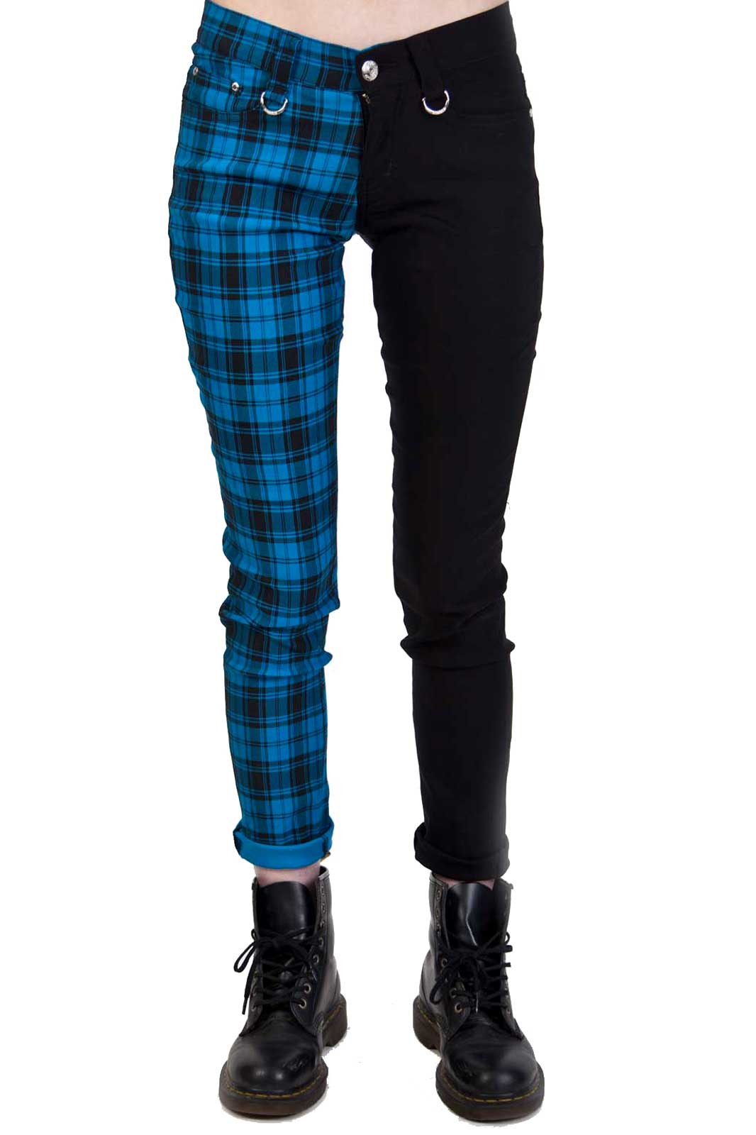 Split Pant Tartan Black Blue Front