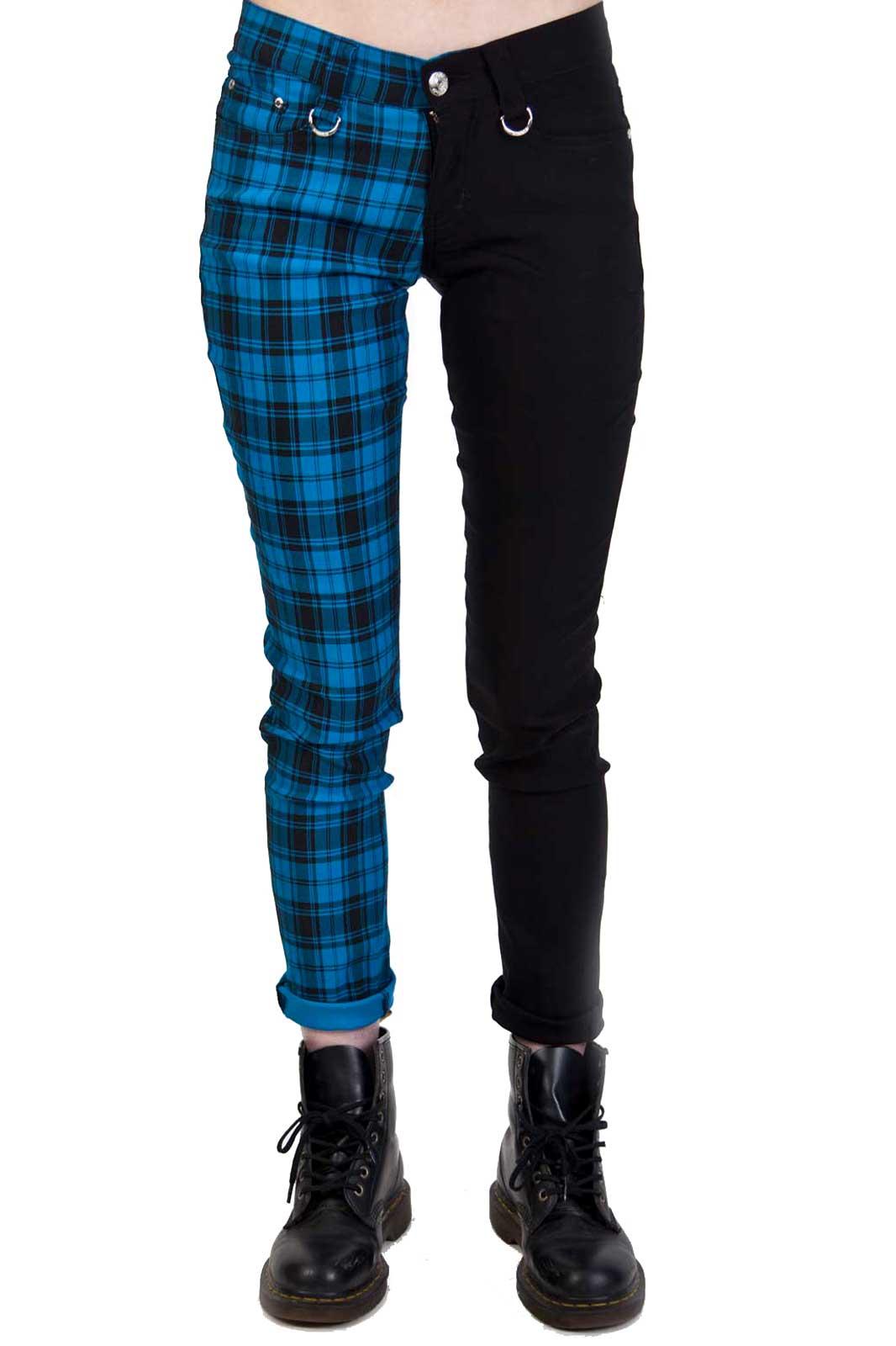 Split Pant Tartan Black Blue Front