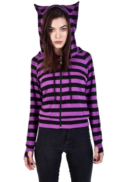 Cat Ears Striped Hoodie Front