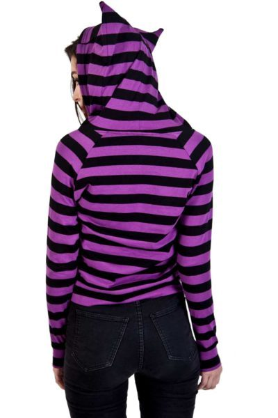 Cat Ears Striped Hoodie Back