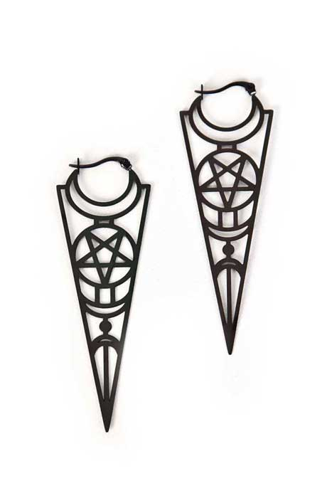 Earrings Occult Ornaments Black Stainless Steel
