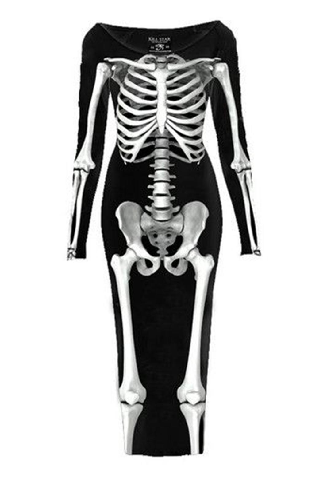 Skeletor L/S Maxi dress Black