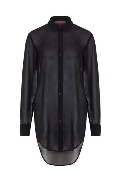 jawbreaker chiffon boyfriend shirt black