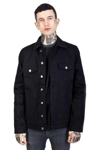 Kustom Creeps Denim Jacket Black Front