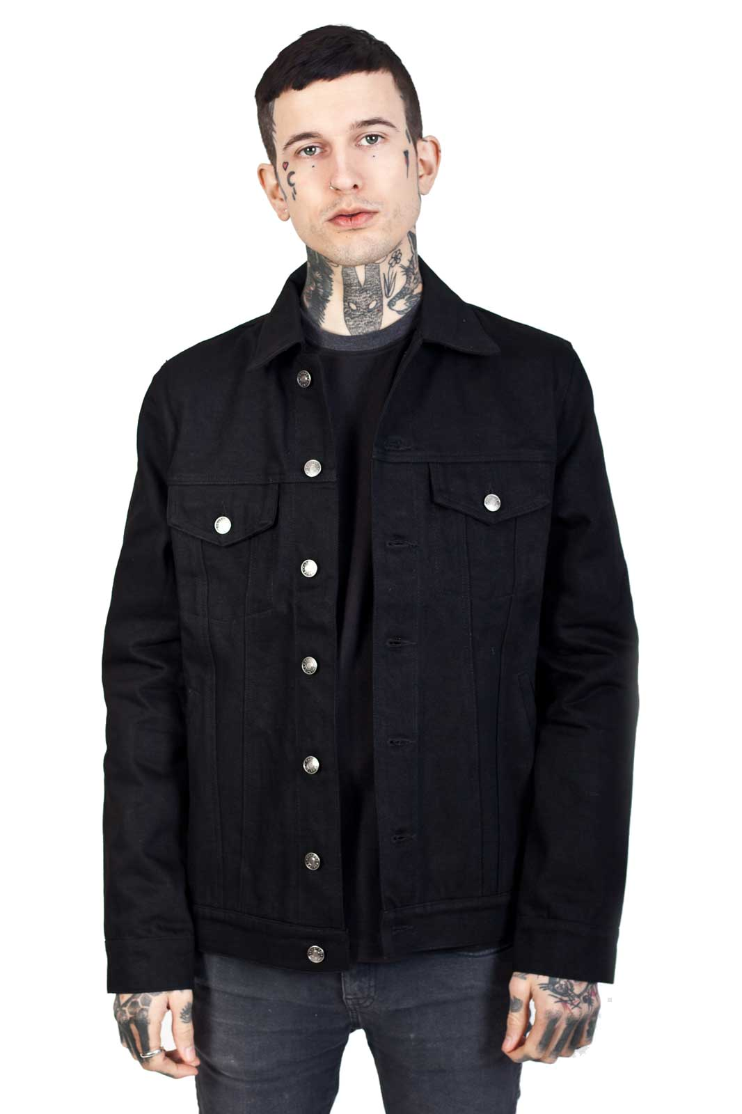 Kustom Creeps Denim Jacket Black Front