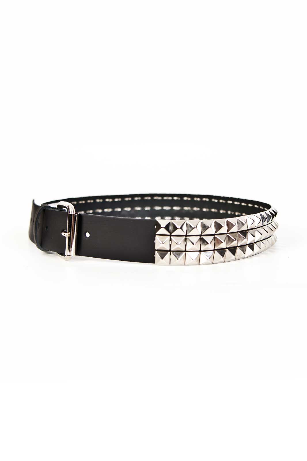 3 Row Silver Pyramid Leather Belt Black