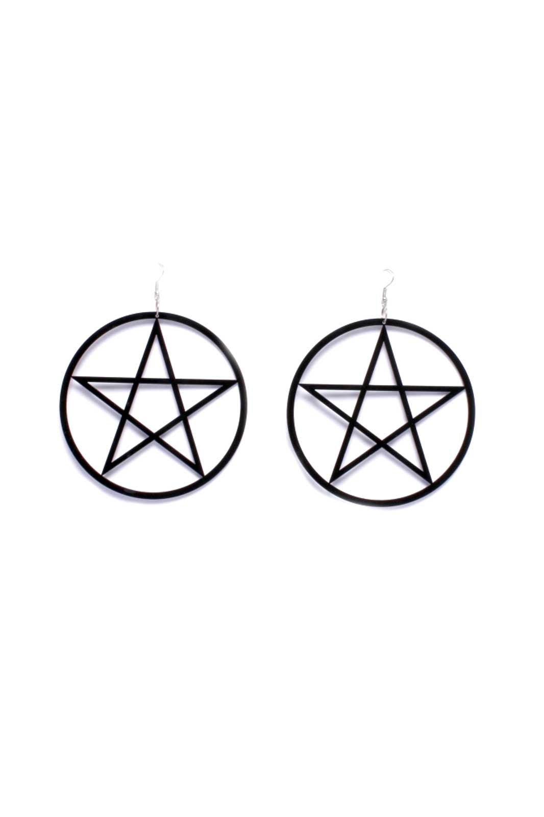 Earrings Black Pentagram