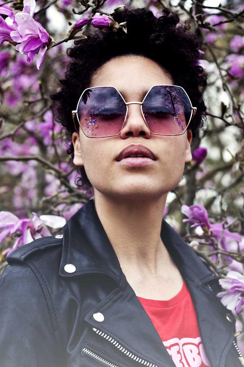 Big Hex Sunglasses Dark Fuschia