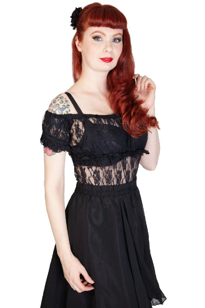 Gypsy Top Lace Black