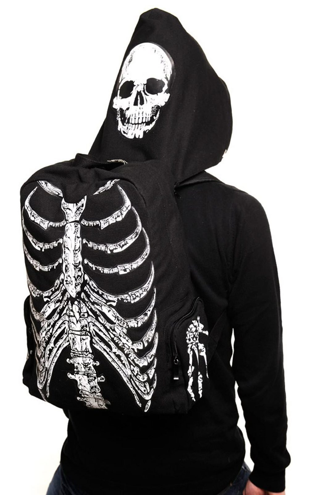 Skeleton backpack with hood