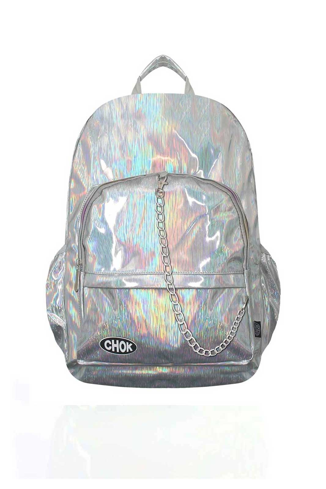 Holographic Silver Stripe Backpack Front