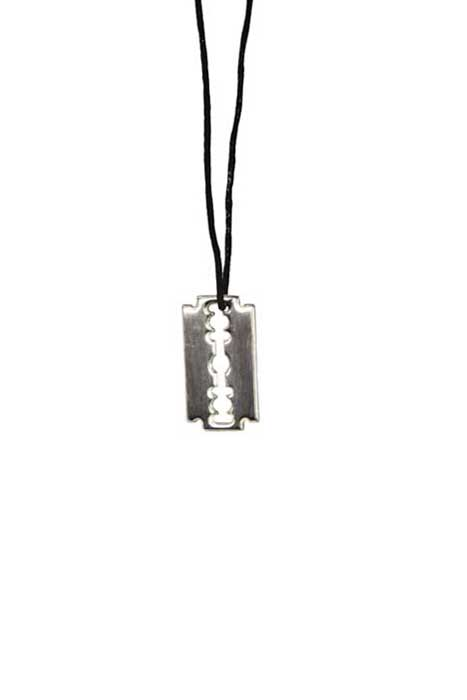 Pendant Razorblade Stainless Steel On Cord