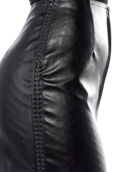 Black Fatale Mini Gloss Skirt Black Nitar