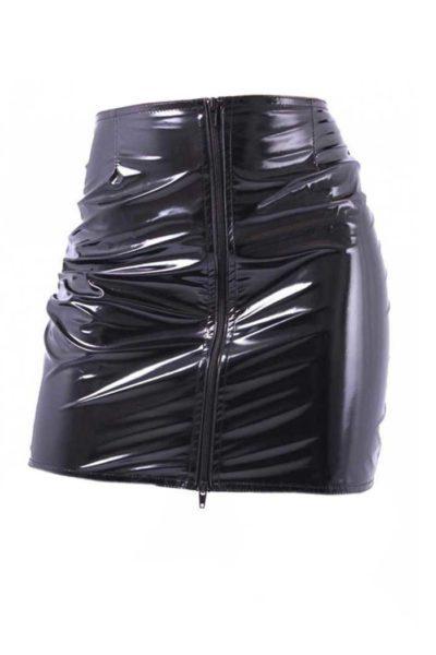 Black Fatale Mini Gloss Skirt Black