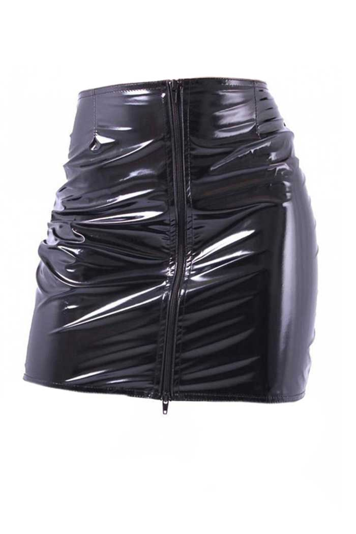 Black Fatale Mini Gloss Skirt Black