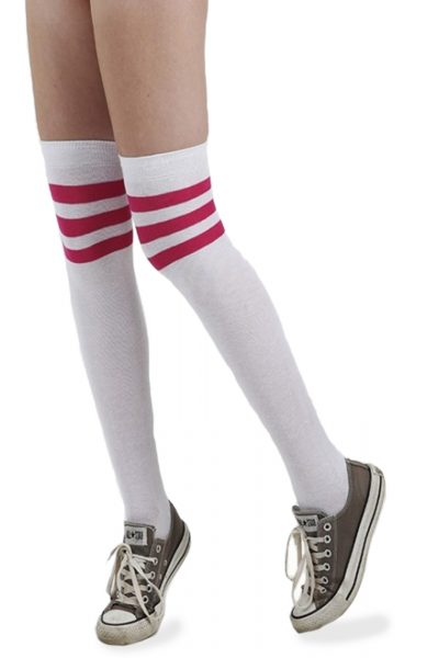 Referee Overknee Socks Wht/pin