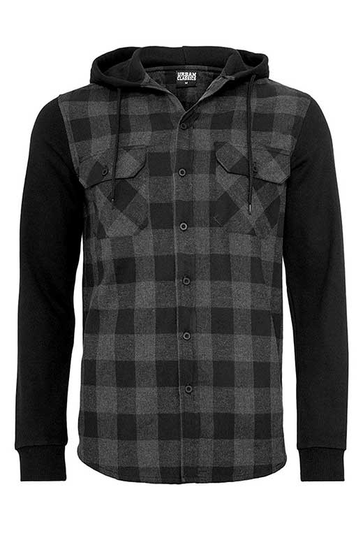 Hooded Checked Flanell Sweat Charcoal Black framsida