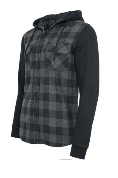 Hooded Checked Flanell Sweat Charcoal Black sida