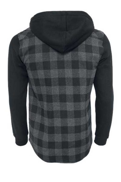 Hooded Checked Flanell Sweat Charcoal Black baksida