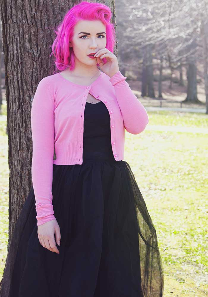 Rockabilly pink cardigan