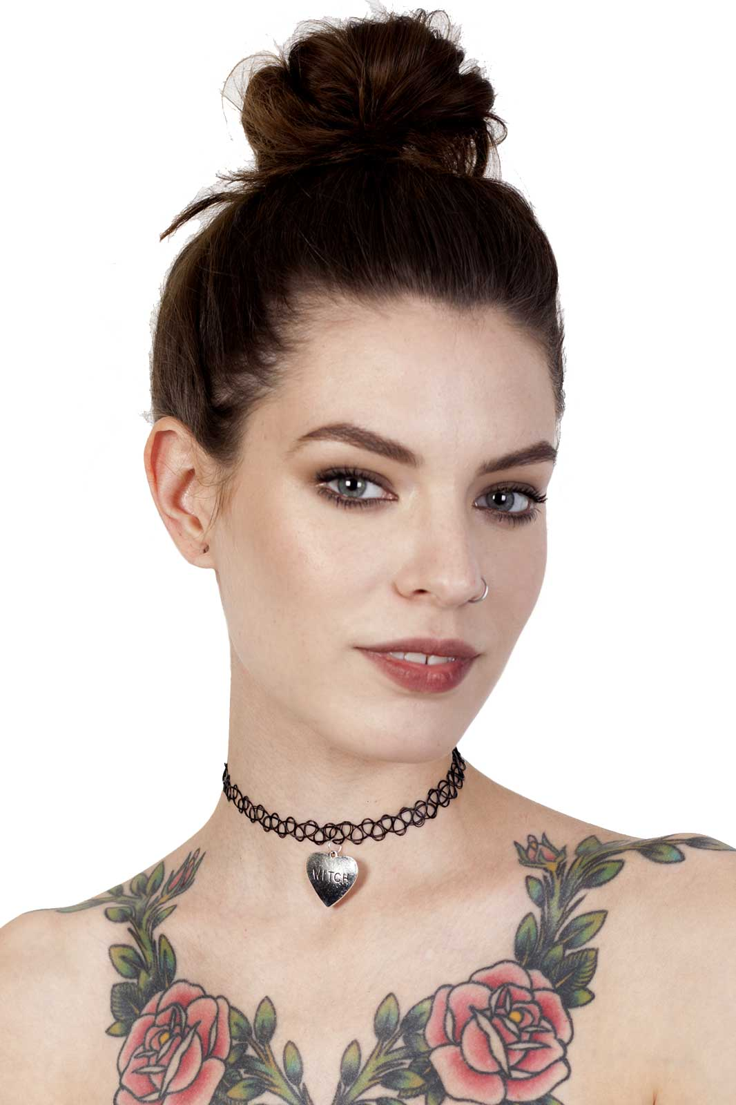 Witch Heart Charm Tattoo Choker