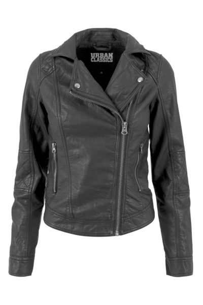 Vegan Leather Biker Jacket Black framsida