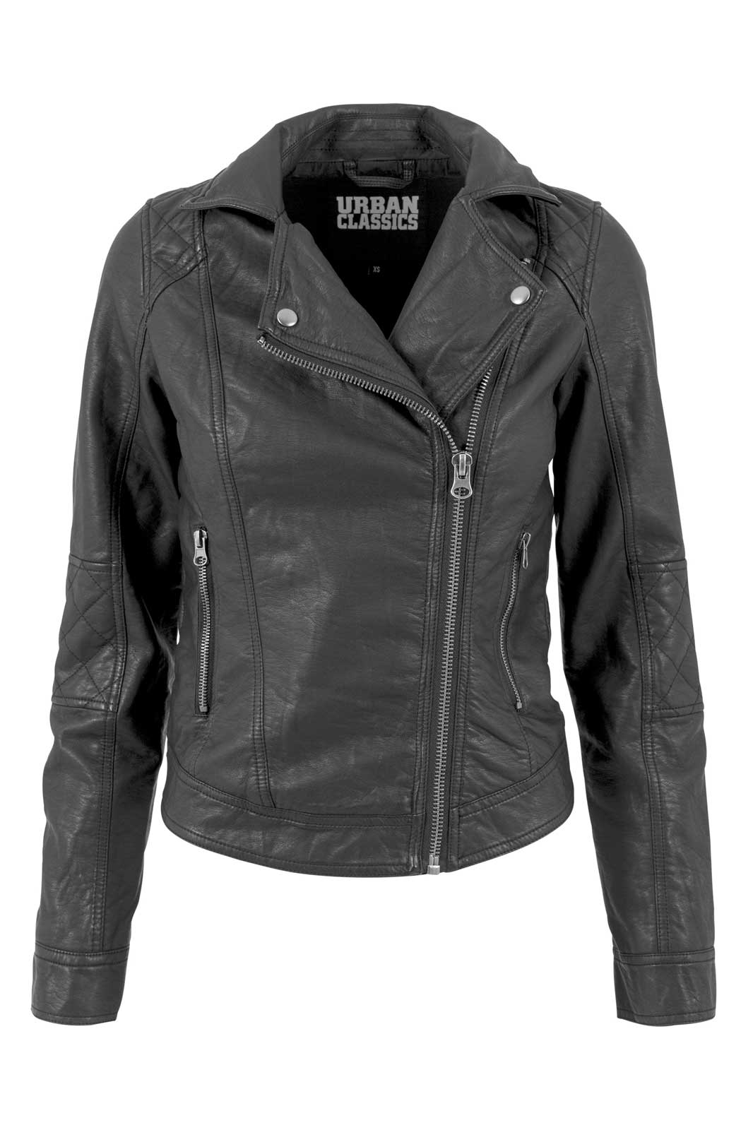 Vegan Leather Biker Jacket Black framsida